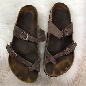 BIRKENSTOCK Mayari Brown Leather Toe Loop Sandal